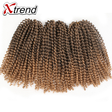 Xtrend 8inch Synthetic Afro Kinky Curly Crochet Braid Hair Extension Black Brown Ombre Jamaican Bounce Marlibob Hair 3Pieces/Lot