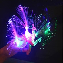 3pcs LED Glow Peacock Finger Light Laser Beams Ring Optical Fiber Toy Flash Kid Fluorescent Shiny Neon Flashing Party Decoration