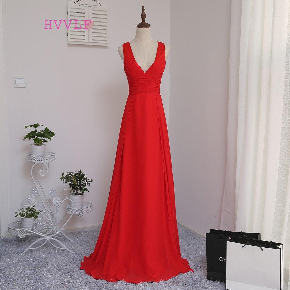 HVVLF 2019 Cheap Bridesmaid Dresses Under 50 A Line Deep V