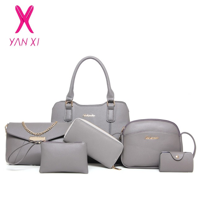 YANXI Hot Sale Fashion 6 In 1 Lady Tote Shoulder Day Clutches Designer Purse  And Handbags Leather Women Quality PU Composite Bag e81f63375f6b3