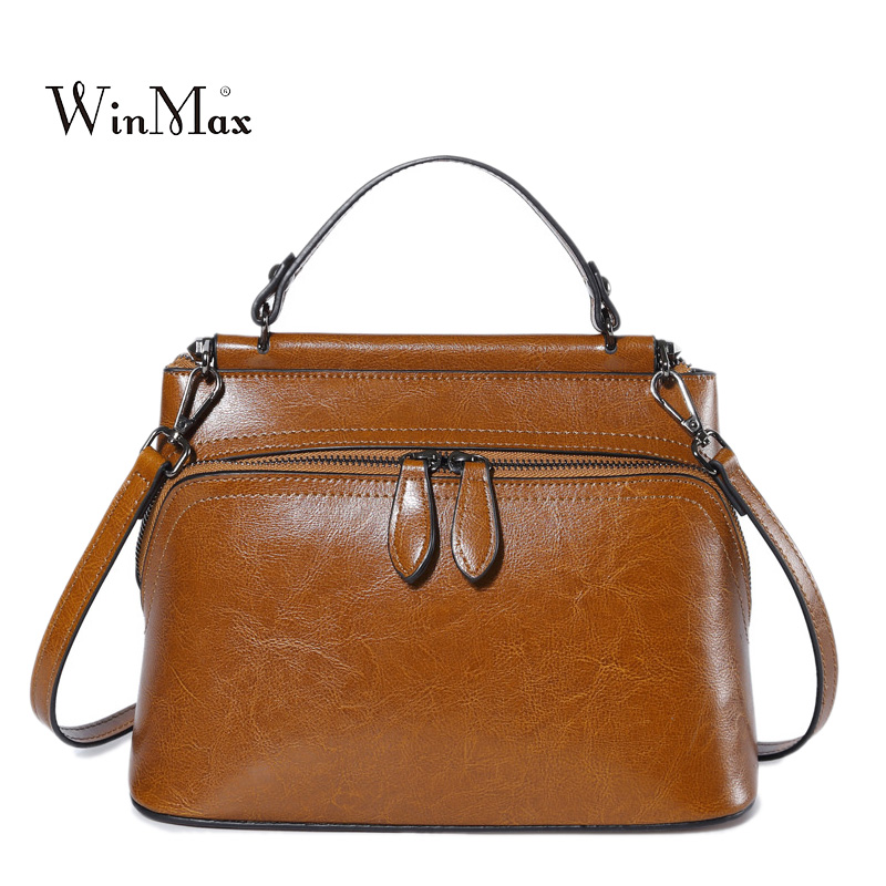 Real Cow Leather Ladies Handbags Women Genuine Leather Shoulder Bags Tote Messenger Bag High Quality Sac a Main Luxury Hand Bag hongu high grade leather handbags crocodile pattern large ladies hand bags luxury purse with shoulder strap sac a main femme