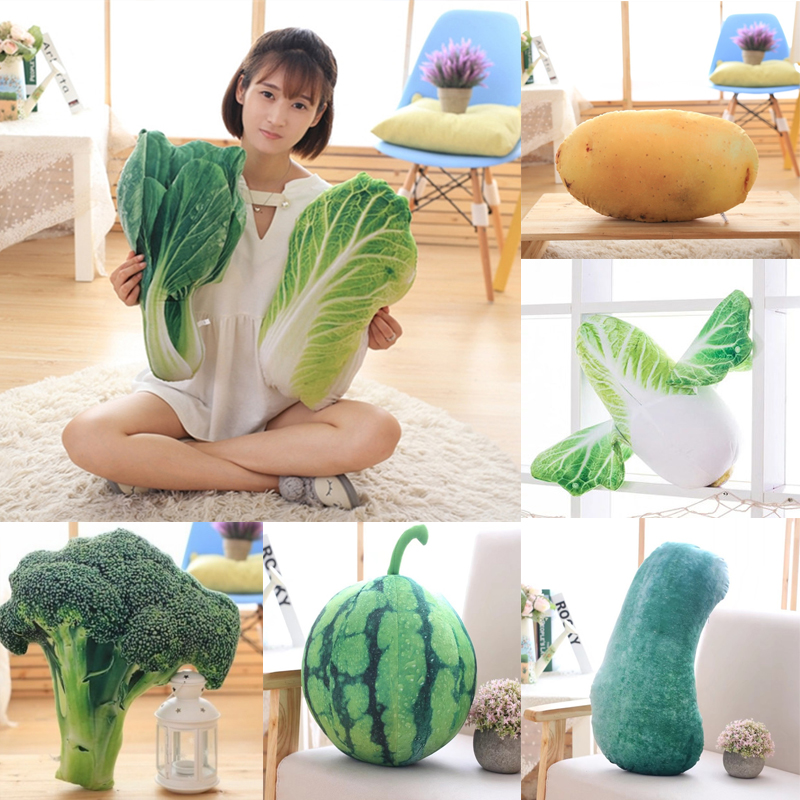 Creative Printing Vegetables Throw Pillow Plush Toy Potato Cabbage Broccoli Office Sofa Cushion Funny Home Decoration