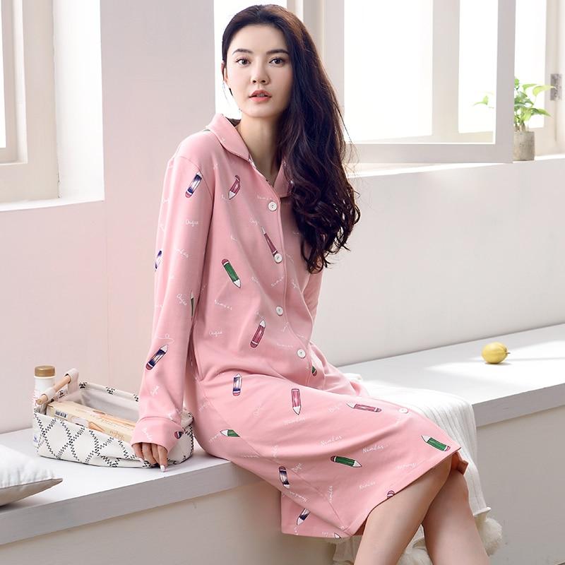 100% Cotton   Nightgown   Women Sweet Girl Lounge Nightdress Femme Sleepwear Casual Nightwear Loose   Nightgowns   Fashion   Sleepshirts