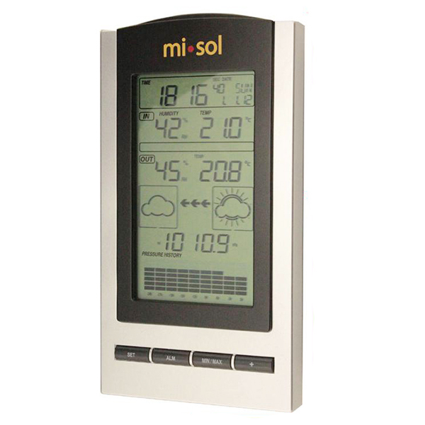 MISOL LCD Digital Weather Station with Indoor Outdoor Wireless Temperature Humidity Silver Black