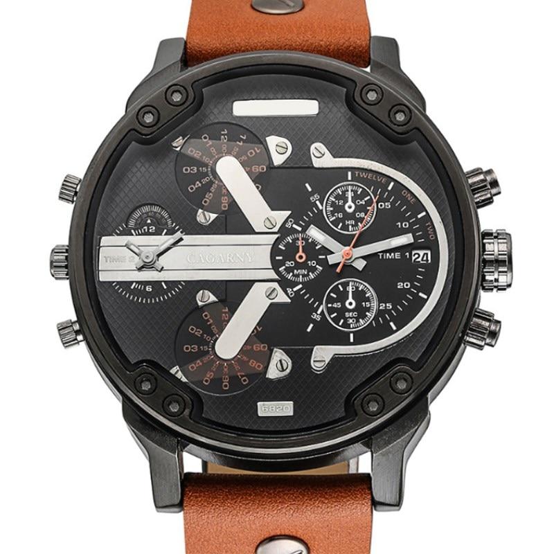 NATATE Men Watch Dual Movement Watch CAGARNY Waterproof Sport Military Quartz Men Luxury Brand Wrist Watch 0840
