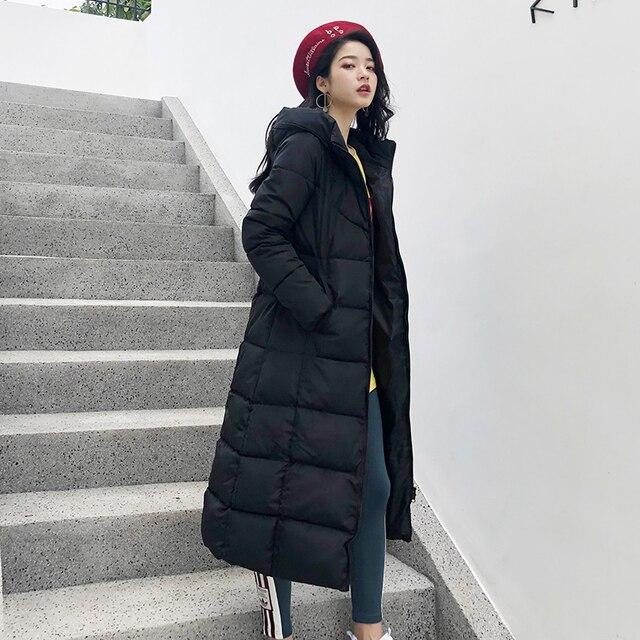 2019 Hiver femmes veste x-long à capuche coton rembourré Femme Manteau haute qualité vêtements d'extérieur chauds femmes Parka Manteau Femme Hiver 2