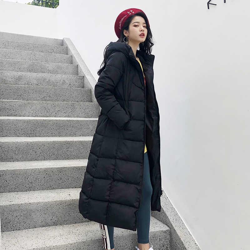 2019 zima kobiety kurtka X długi, z kapturem bawełna wyściełana damska płaszcz wysokiej jakości ciepła odzież wierzchnia kobiet Parka Manteau Femme Hiver