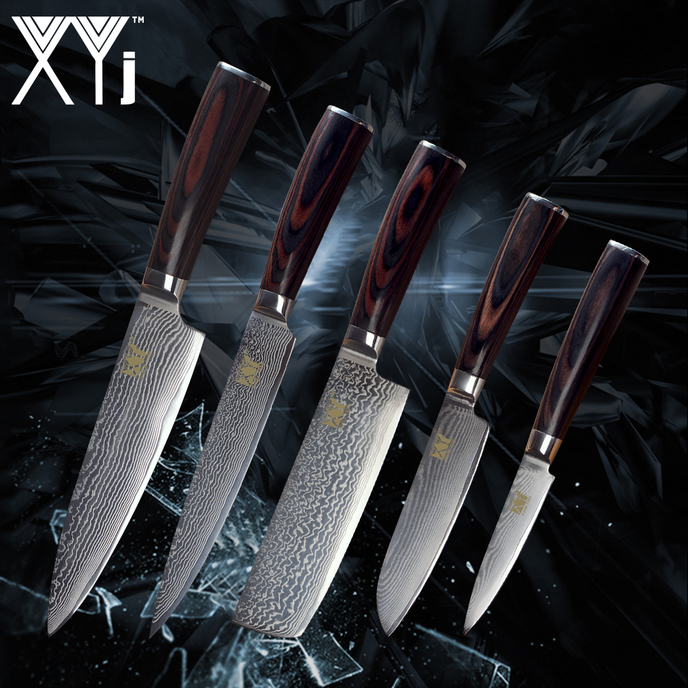 XYj Kitchen Damascus Knife Set New Arrival 2018 VG10 Damascus Steel Fruit Santoku Chopping Chef Slicing Knife Color Wood Handle