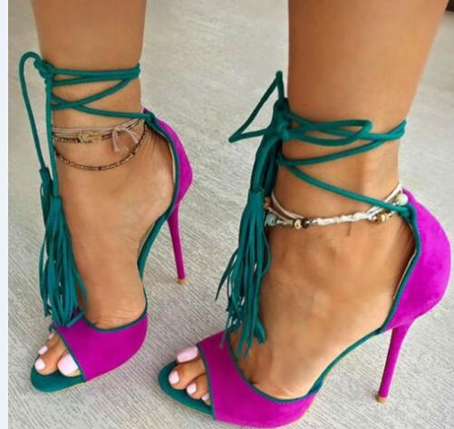 2017 Summer women high heel sandals super high thin heels lace-up women catwalk purple yellow sandals tassel shoes runway sandal top fashion colorful patchwork tassel women summer high heel sandals lace up cut out ankle strap high heel strapp sandal shoes