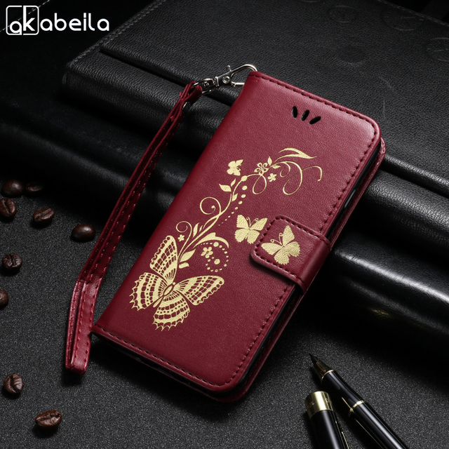 AKABEILA Butterfly PU Leather Phone Case For Samsung Galaxy S7 G930 G9300 SM G930A SM G930R4 G930F G930W8 G930S G930FD Cover Bag