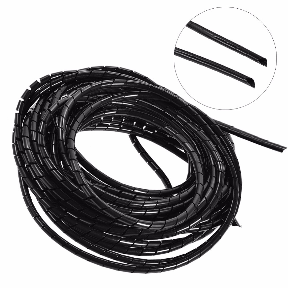 2M 10mm//25mm Spiral Cable Wrap Tidy Hide Binding Wire Management PC Home Office