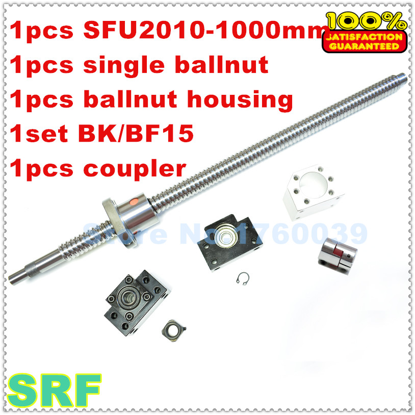 Rolled Ballscrew RM2010 sets:1pcs SFU2010 L=1000mm+1pcs ballnut+1set BK/BF15 end support+1pcs ballnut housing+1pcs coupler цена