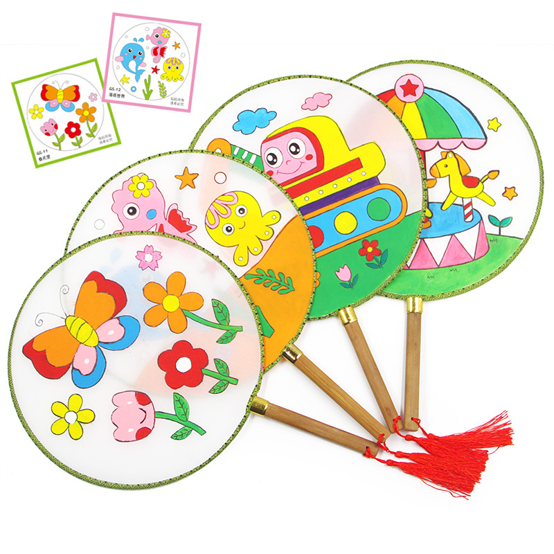 Round Fan Children DIY Handdrawn Blank Fan Painting Palace Fan Cool Kindergarten Creative Art Material Props Kids Handmade