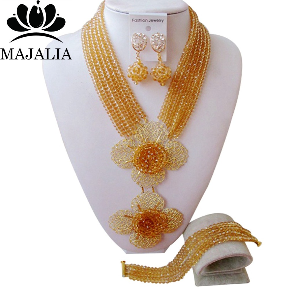Jewelry-Set Champagne Gold Necklace Crystal African Beads Wedding Nigeria SS-966