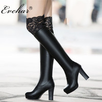 EVCHAR Fashion Thigh High Boots PU Leather supre High Heels Women Over The Knee Lace Botas short plush Shoes Plus Size 34 50
