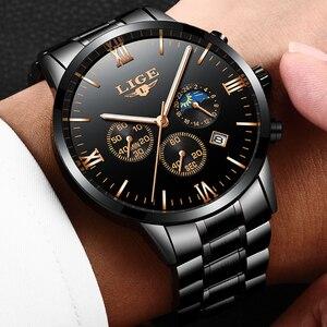 Image 2 - Lige relógio famoso moda masculina relógio de quartzo dos homens relógios de luxo marca superior negócios aço completo à prova dwaterproof água relógio relogio masculino