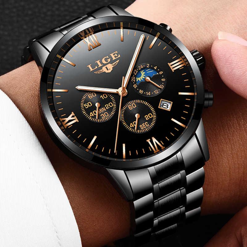 Reloj LIGE famoso reloj de cuarzo de moda para hombre relojes de marca superior de lujo de acero completo de negocios reloj resistente al agua