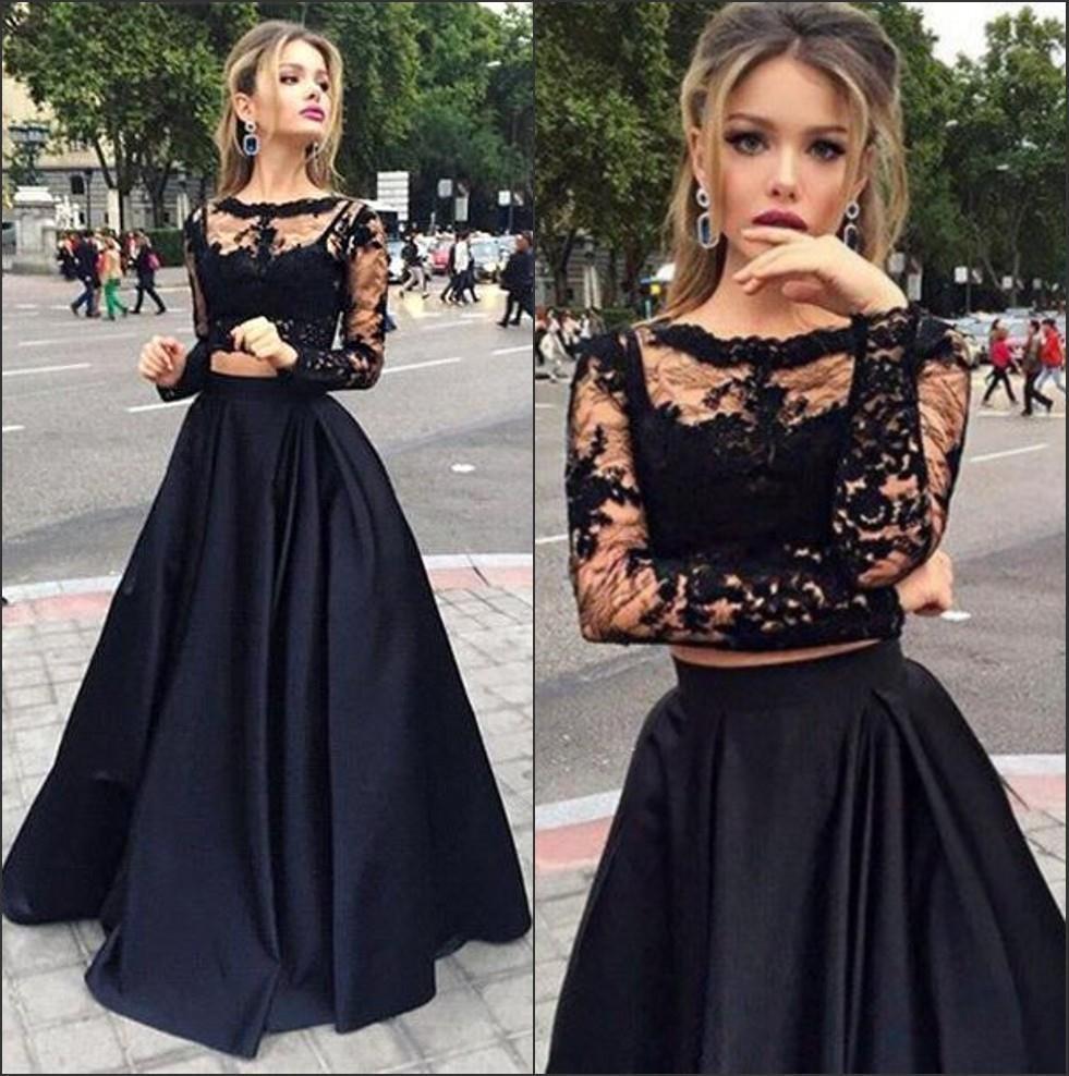78305df1d7cd8 2016 New Black Two Piece Prom Dresses Long Sleeve Puffy Satin A-line  Transparent Top Lace Evening Dress Vestidos De Baile