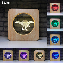 Drop shipping 3D LED Dinosaur Projector Night Light 7 Colors  Multicolor RGB Lamps Bedroom Desktop Decoration for Kids