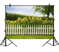5x7ft Sunflowers Blossoms Grass Land Corn Field Farmland Tree Polyester Photo Background Portrait Backdrop