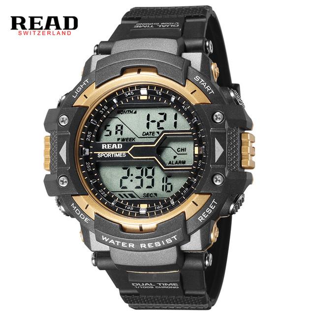 Read superior de la marca deportes relojes de pulsera para hombres champán oro digital 55mm dial grande reloj despertador cronómetro correa del silicón calendario