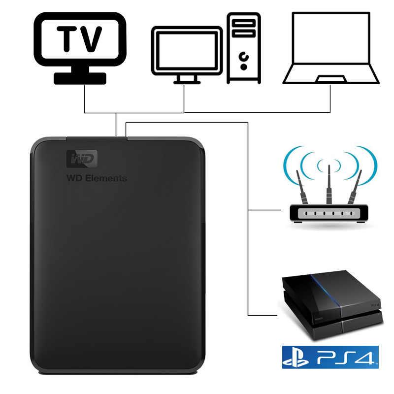 WD Elements Portable Hard Drive Eksternal Disk HD 500G 1TB Kapasitas Tinggi Sata USB 3.0 Perangkat Penyimpanan untuk pc Komputer Laptop
