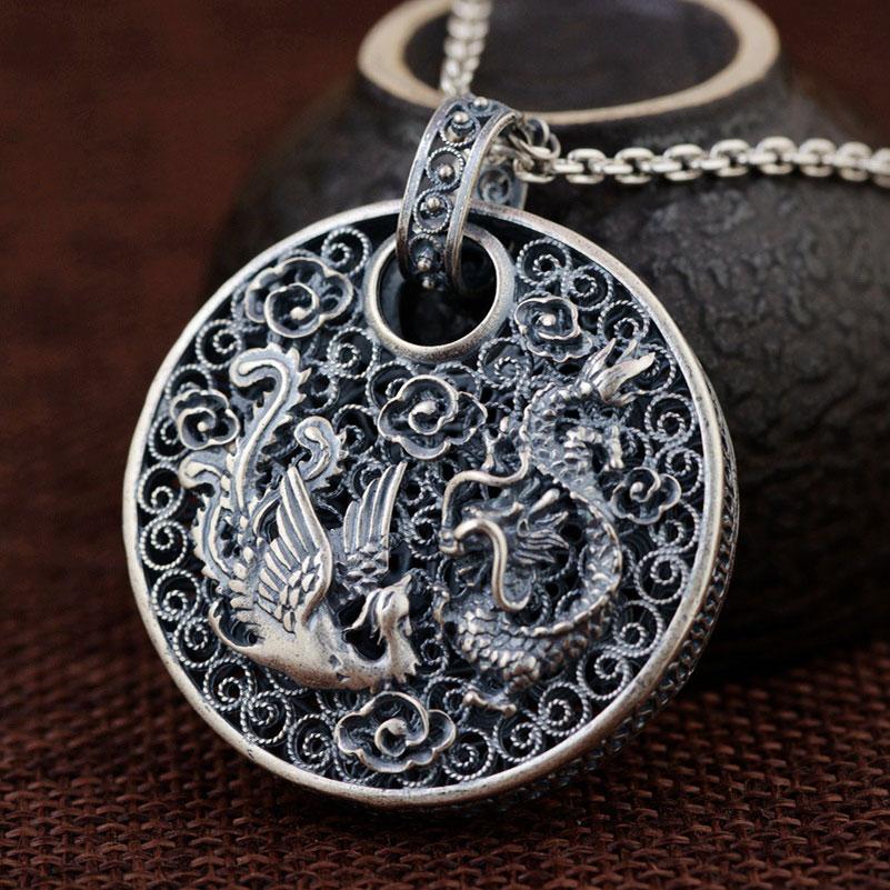 Fnj 925 Silver Phoenix Pendant Dragon Animal Good Luck 100 Pure