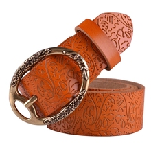 High quality cow women embossing leather belts for women strap female pin buckle free shipping cintos feminios