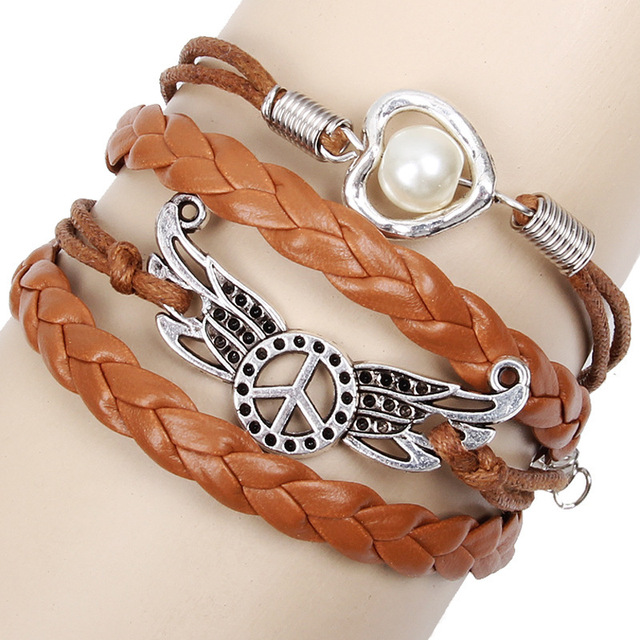 Hot sell jewelry leather Double infinite multilayer bracelet factory price wholesales Peace&Sign of heart sign bracelet