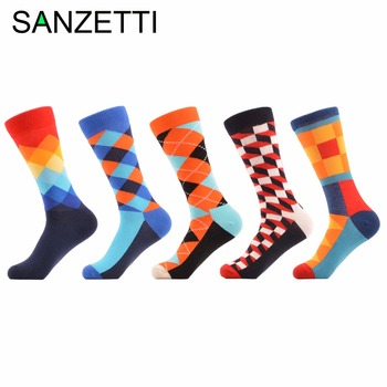 SANZETTI 5 pair/lot Men's Funny happy Socks Argyle Combed Cotton Socks Colorful stripe Grid Tube geometric Long Socks