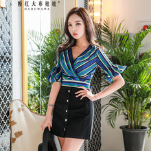 цены Dabuwawa New Summer Striped Blouse Women's Elegant Flare Sleeve V-neck Shirt Short Bow Top D18BST369