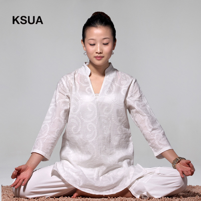 цены Solid White Yoga Set Linen Yoga Shirt Pants Zen Meditation Clothing Woman Sportswear Set Large Size Gym Yoga Suit Tracksuit