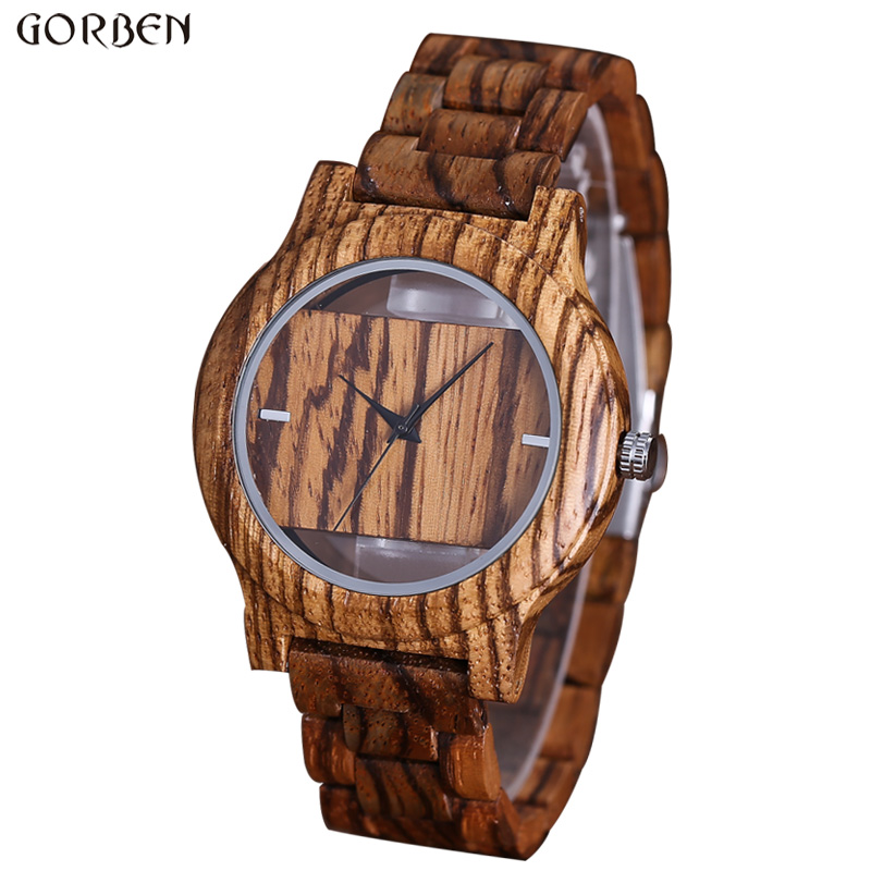 Fashion Unique Hollow Dial Wood Bracelet Watches Mens 2017 New Cool Men Clock Bamboo Brown Quartz Wristwatch Modern Relogio W071 gorben round vintage zebra wood case men watch with ebony bamboo wood face bamboo wood strap bracelet watches cool modern gifts