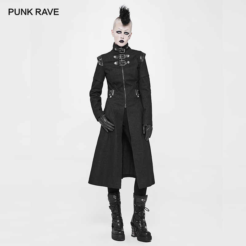 55ae0458 PUNK RAVE New Black Punk Rock Hooded Knit Women Long Jacket Gothic ...