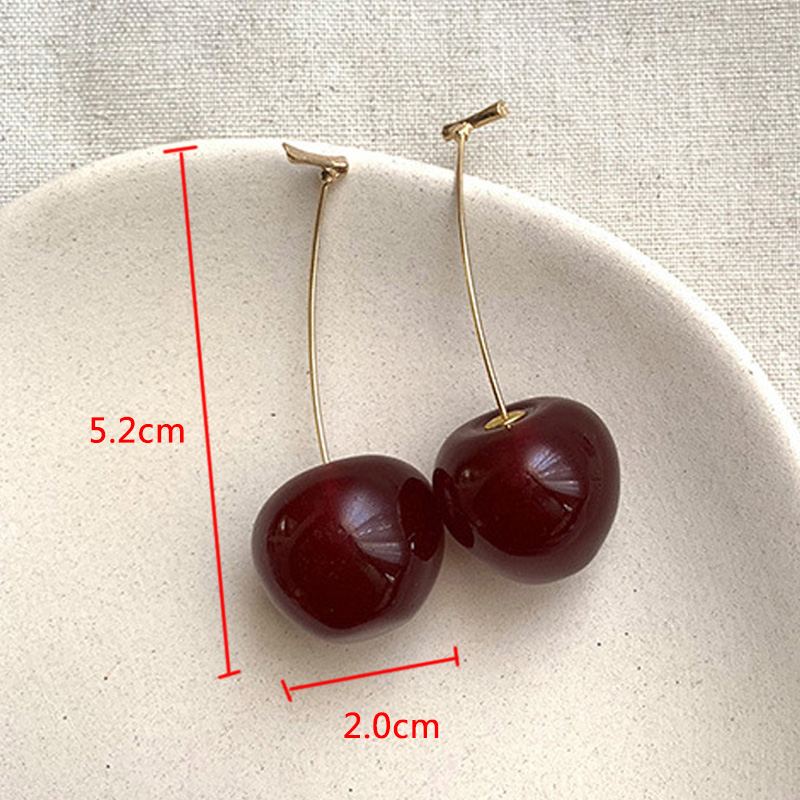 Cute Simulation Red Cherry Sweet Resin Hot Sale Gold Color High Quality For Women Girl Student Fruit 1Pair Earring Gift