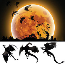 7Pcs / Lot Gothic Wall paper Stickers Game Power inSpired 3D Dragon Decoration Cool Cartoon Slaapkamer Decoratie #BZ(China)
