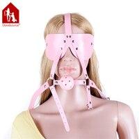 Davidsource Turn Y Shape Head Harness Blindfold Pink Plastic Gag Pink Leather Adjustable Lockable Belt Slave Training Kit