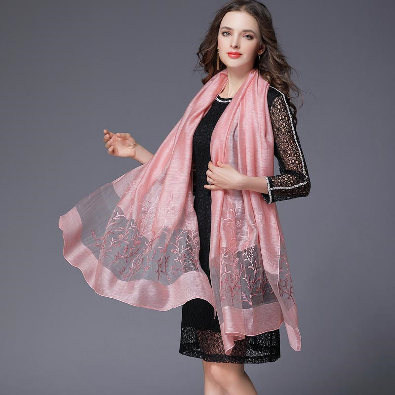 190*90cm Women Scarves Real Silk Wool Long Scarf Stoles Floral Embroidery Shawl Wrap Soft Female Foulard Sunscreen Hijab