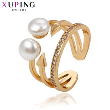Xuping Hrperbole Ring Imitation Double Pearl Jewelry Thanksgiving Christmas Luxury Gifts for Women S163.2-1389213(China)