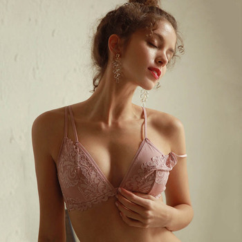 CINOON French Lace Front Closure Bra And Panties Set Women Sexy Lingerie Set Wire Free Bralette Embroidery Underwear Brassiere 2