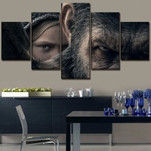 War for the Planet of Apes Science Fiction Movie HD Print 5 Piece Canvas Wall Art For Living Room Painting