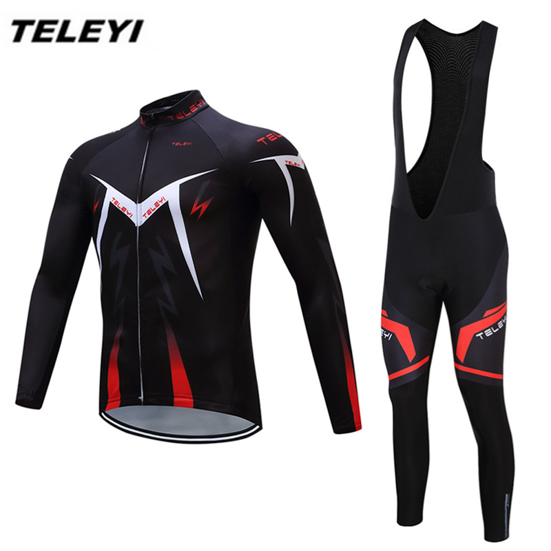 TELEYI Black Red Ropa Ciclismo Maillot trouser MTB Bike jersey Bib Pants Set Men Cycling clothing Suit Riding Long Sleeve Jacket 2017pro team lotto soudal 7pcs full set cycling jersey short sleeve quickdry bike clothing mtb ropa ciclismo bicycle maillot gel