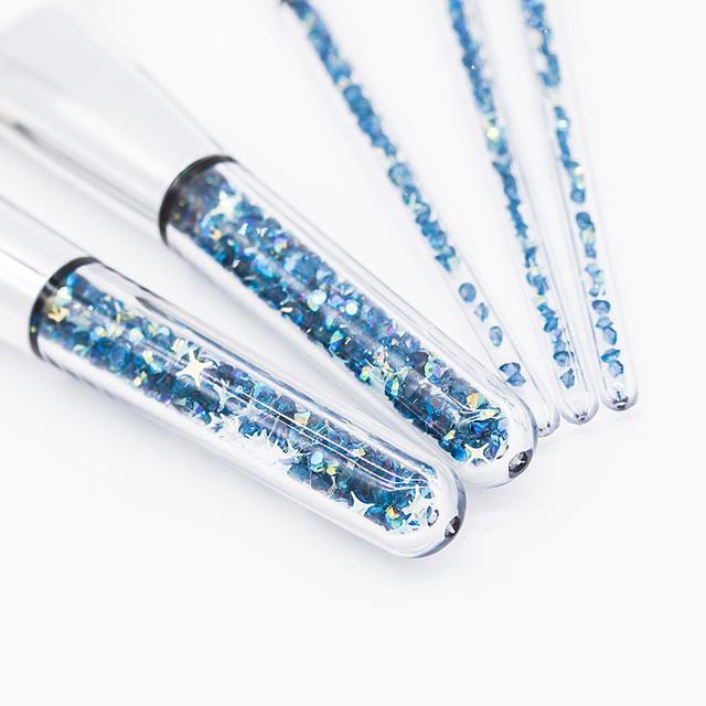 5 Piece Blue And Gold Diamond Makeup Brush Sets