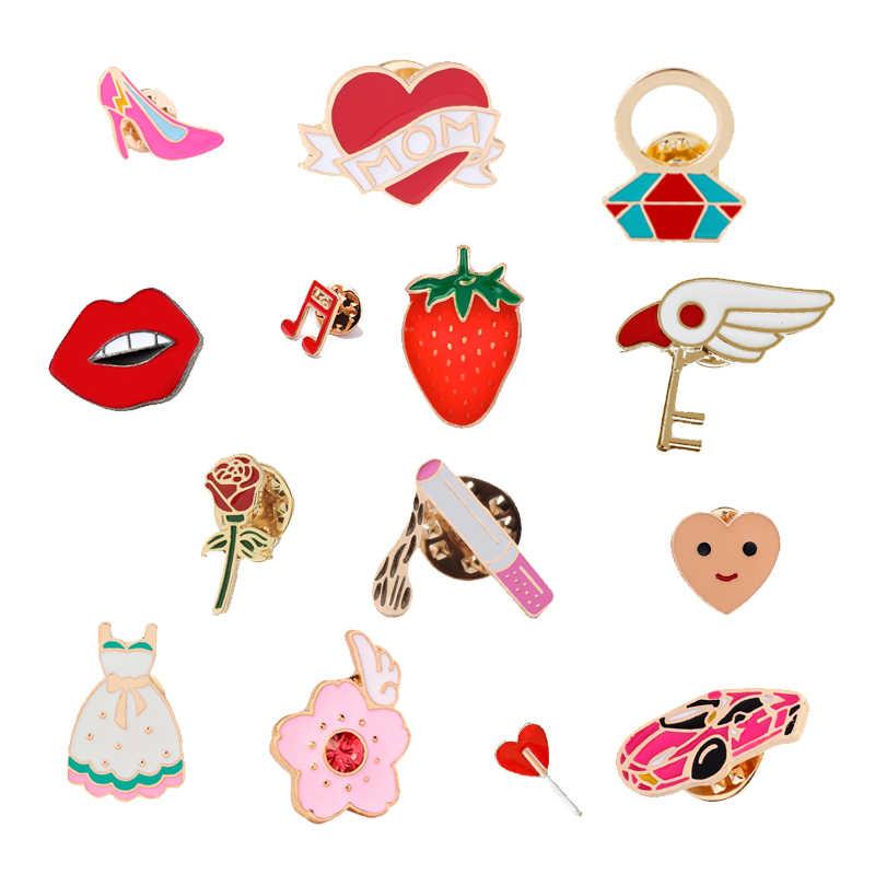 Fashion Kreatif Pin untuk Wanita Tinggi Tumit Rokok Jantung Bunga Kepribadian Bros Gaun Denim Kemeja Lencana Perhiasan Wanita