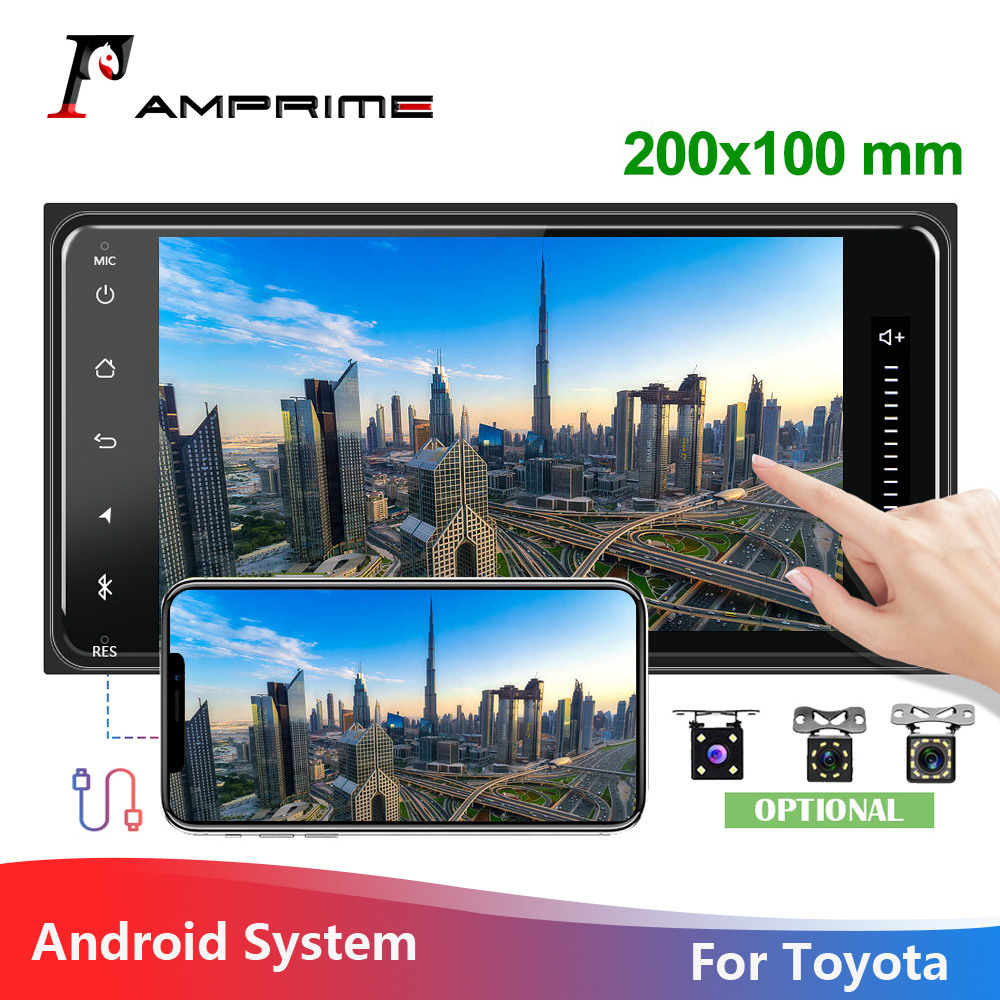 AMPrime 2Din Car Auto Radio 7 Android Car Multimedia Autoradio Audio GPS WIFI ISO/Android Mirrorlink 1+16 For Toyota Corolla