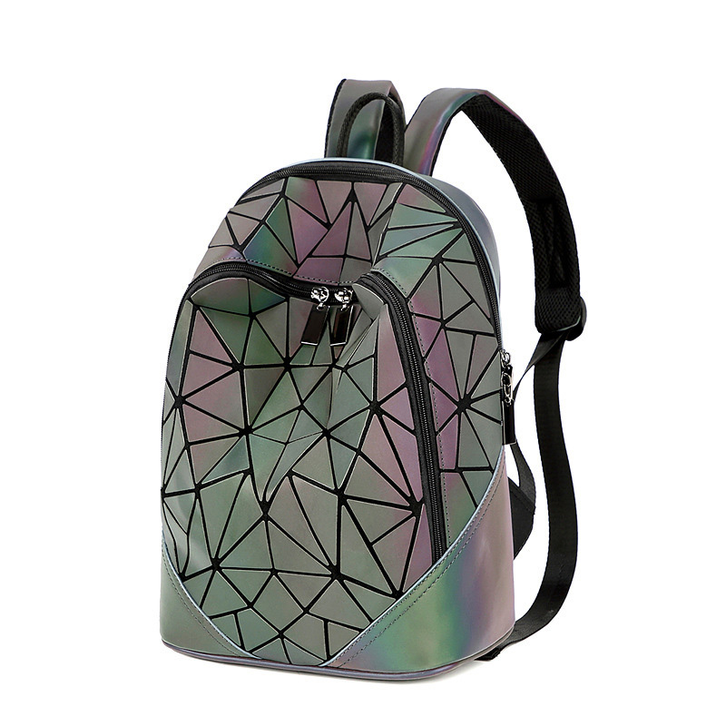 Women Backpack Female Geometric Luminous Holographic Backpack Plaid Sequin Rucksack Bag Travel Bags Backpack Mochila Feminina