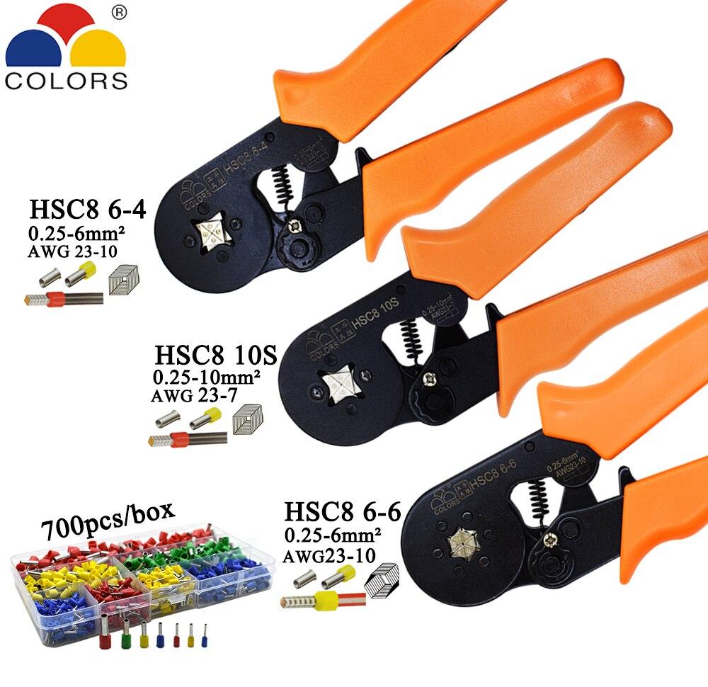Handwerkzeuge DemüTigen Hsc8 10 S Crimpen Zangen 0,25-10mm2 23-7awg Hsc8 6-4/6-6 Mit 700 Teile/schachtel Rohr Typ Nadel Terminal Mini Druck Draht Werkzeuge Werkzeuge