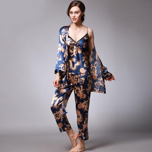 QWEEK סקסי שינה טרקלין 3 חתיכות V-צוואר נשים פיג 'מה סט אלגנטי הדפסה ארוך שרוול של פיג' מה נשים הלבשת נשים Nightwear