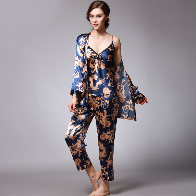 QWEEK Sexy Sleep Lounge 3 Pieces V-Neck Women Pajamas Set Elegant Print Long Sleeve Pyjamas Women Sleepwear Women Nightwear