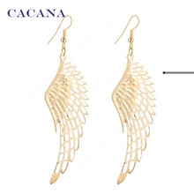 CACANA Earrings Gold Plated Dangle Long Earrings With Top Quality Big Wing For Women Bijouterie Hot Sale No.A27